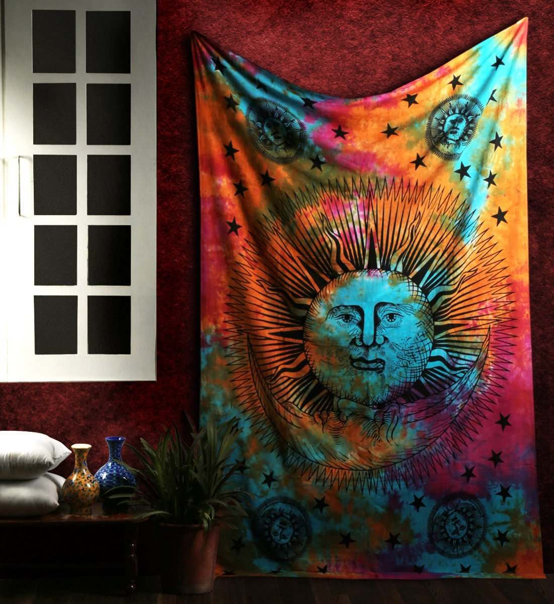 Enipate Psichedelico Celeste Telo Mare Sole Luna Stelle Tie Dye Hippie Hippy Sole-moon Celestial Wall Hanging Indiano Arazzo