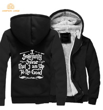 Hogwarts I Solemnly Swear that am Up To No Good Jacket 2019 Winter Mens Warm Fleece Thick Hoodies Loose Fit Style Short Coat
