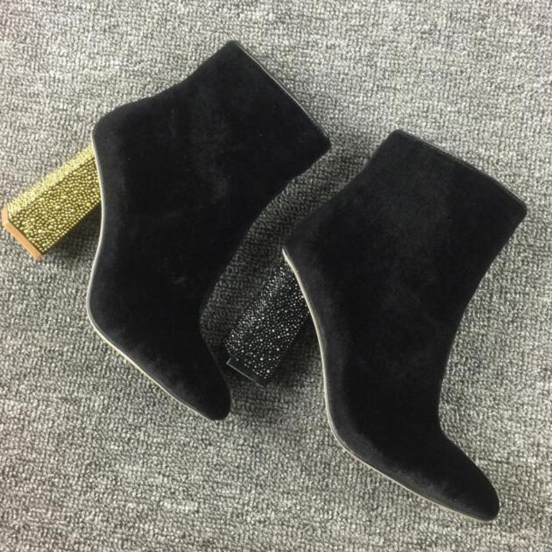 2017 Hot Sale Spring Autumn Velevt Dress Shoes Women Round Toe High Heel Fashion Boots Vintage Rhinestone Studded Ankle Boots hot sale autumn winter shoes round toe fashion ankle women boots sheepskin all match square high heel