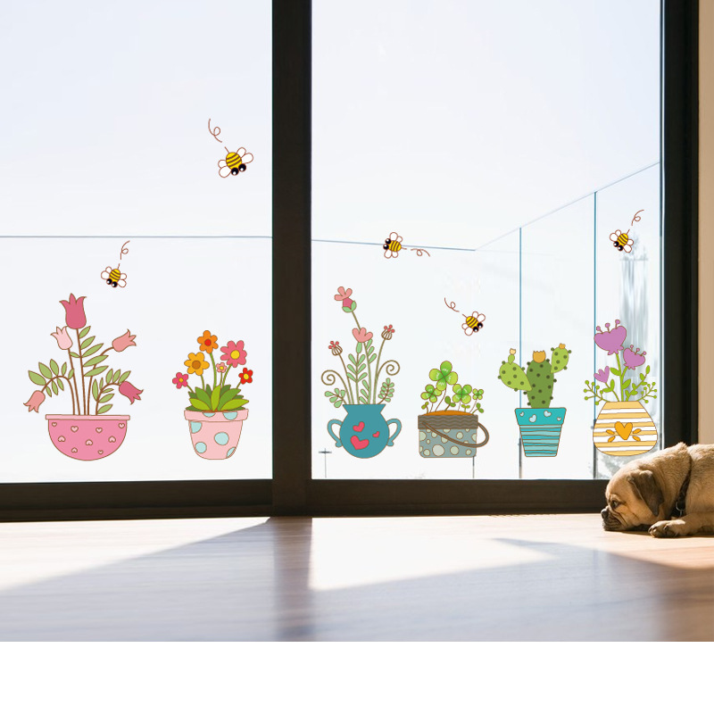 Artificial flowers potted wall stickers cactus clover garden decoration office balcony shop glass door mirror wall stickers