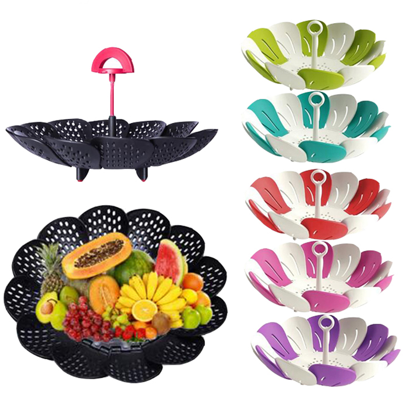Black/Green Plastic Basket Lotus Shape Steamer Extendable Handle Vegetable Tray Egg Cooker Kitchen Gadgets Cookware