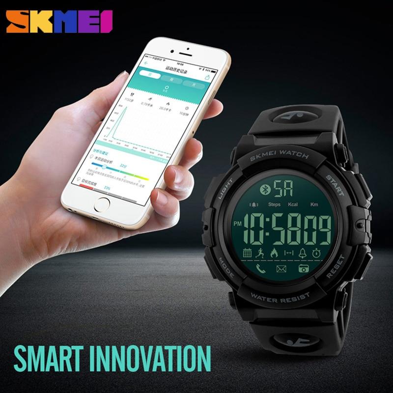 цена на SKMEI Bluetooth Smart Watch Men Waterproof Pedometer Calories Sport Watches Digital Wristwatches Relogio Masculino Male Clock