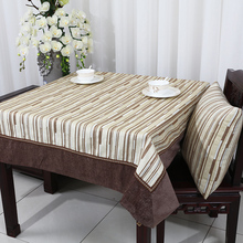 Latest Striped Patchwork Table Cloth Chenille Fabric Modern Simple Cover Europe style Dining Pads Insulation Mats