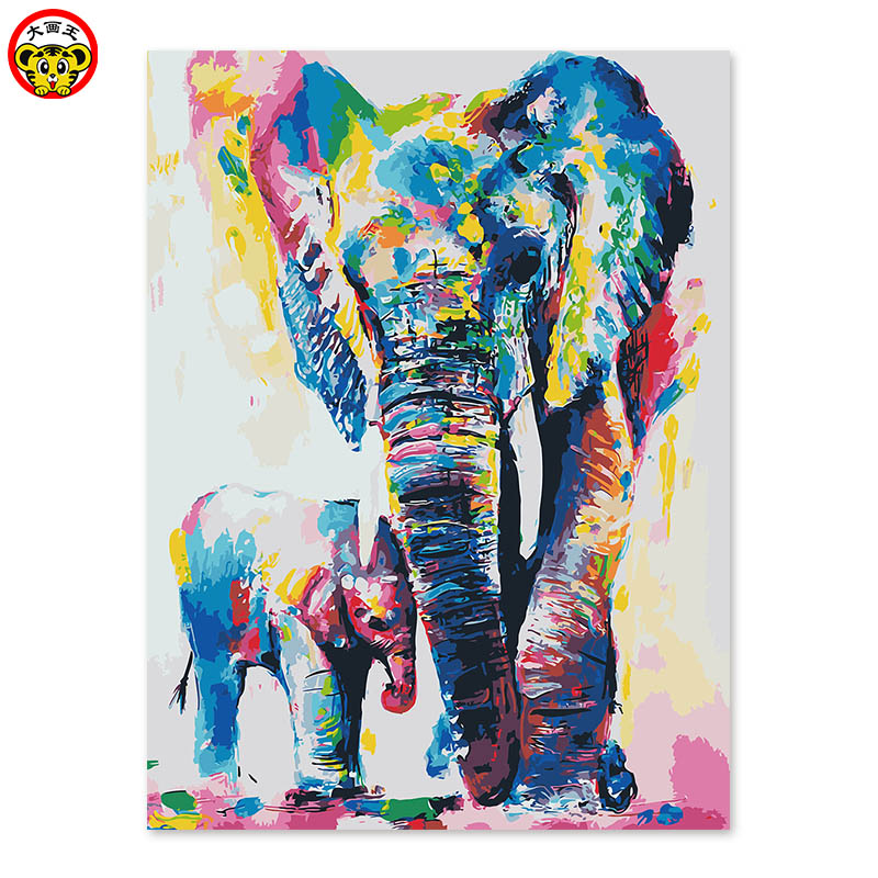 Painting By Numbers Art Paint By Number Adornment Living Room Bedroom Sofa Background  Abstract Elephant Color Mother And Child
