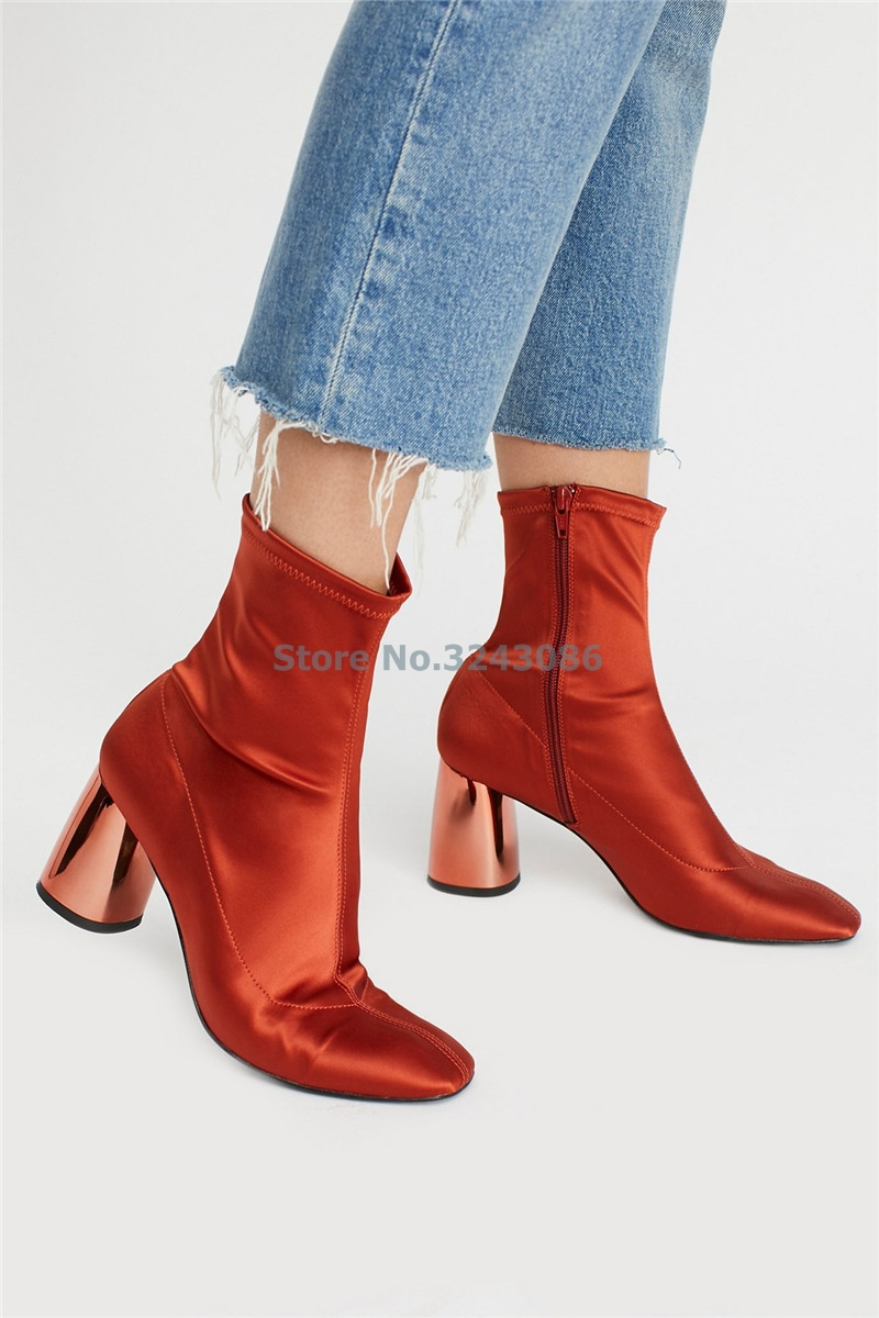 Round Toe Stretch Fabric Chunky Heel Boots Orange Blue Gold Purple Women Sock Boots Fashion Specular Gloss Heel Ankle Boots saucony кроссовки женские saucony freedom