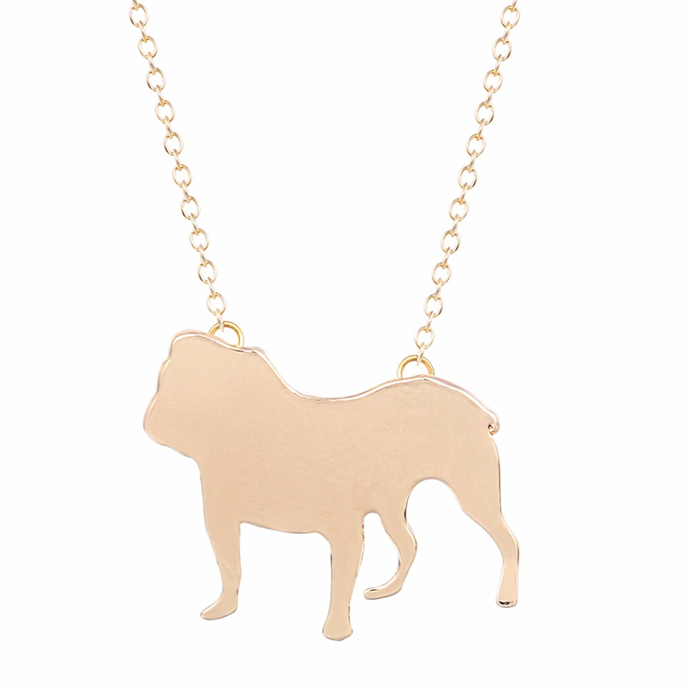 30PCS Gold Silver chain Bulldog Necklace Collane Neckless Fashion Jewelry Women Long Necklace Ladies Design Nice Jewelry