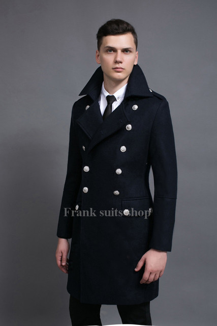 Custom made 2017 New arrival Navy male slim double breasted winter woolen coat high quality large Overcoat