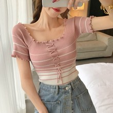 ETOSELL Women Ruffles Low Cut T-Shirt Bandage Short Sleeve Knitted Tee Tops Sexy Slim Striped Shirt Casual