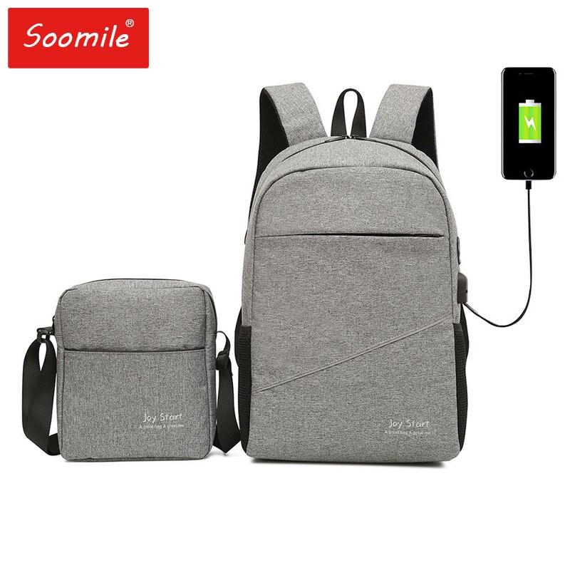 Impermeable mochila 15,6 pulgadas mochila portátil de las mujeres de los hombres de carga USB de ocio de viaje mochila hombro bolso hombre multifunción