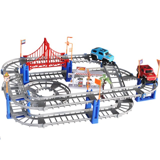Variety of rail car Speed track electric puzzle toy multilayer road racing