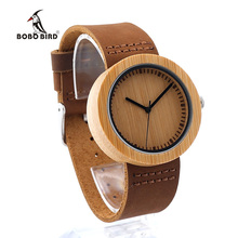 BOBO BIRD D18-1 Wooden Watch Women's Japan Quartz Design Leather Strap Women Fashion Bamboo Dial for Unisex in Gift Box