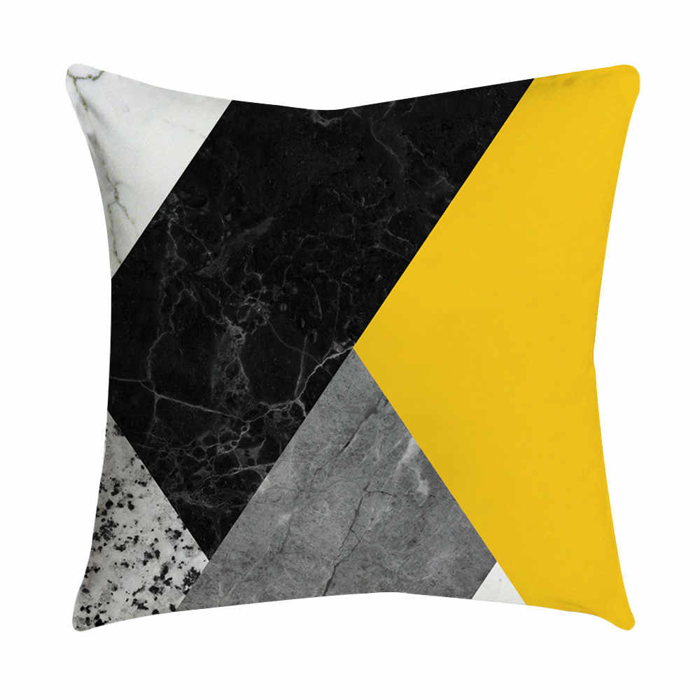 Yellow Square Cushion Cover Soft Polyester Nordic Home Decoration Pillowcase Geometric Abstract Sofa Car Decorative Pillow Cover