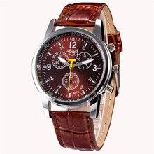 montre homme bracelet cuir Luxury Fashion Crocodile Faux Leather Mens Analog