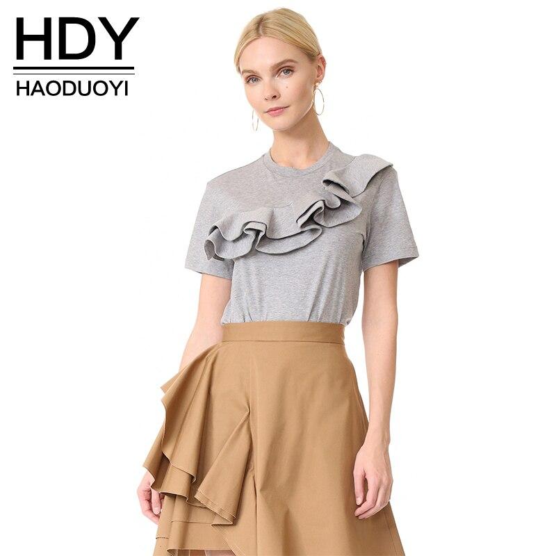 HDY Haoduoyi 2018 ženske luštne bombažne majice poletne enobarvne - Ženska oblačila