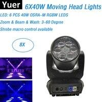 OSRA-M 6X40 W RGBW черехцветные светодиоды перемещение головы огни луч промывочный зум 3IN1 DMX Эффект DJ освещение дискотечное спектакли оборудования