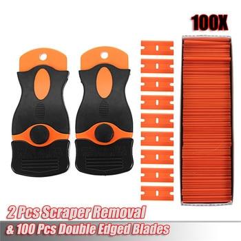 Car Wrap Vinyl Tools Kit DIY  Window maintenance tools 100 Pcs Plastic Double Edged Razor Blades & 2 Pc Scraper Removal
