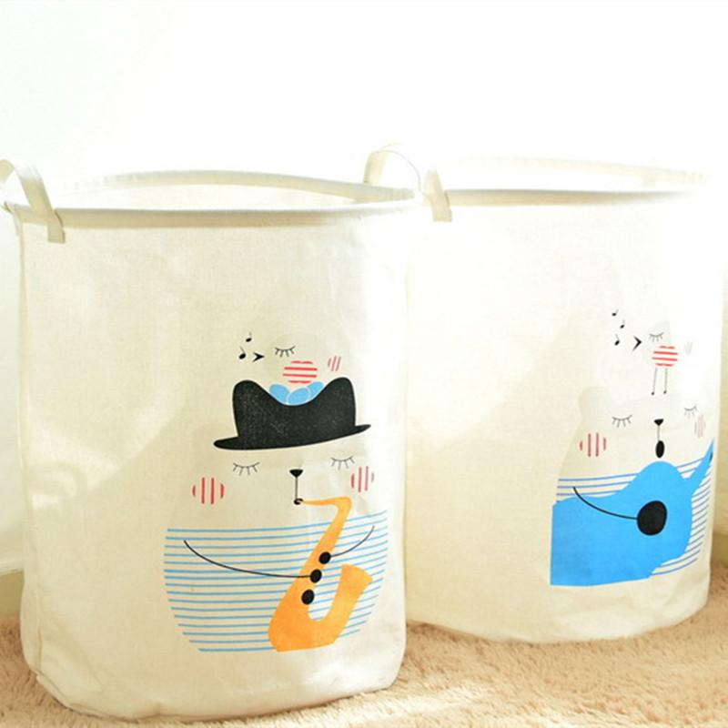 Waterproof cotton foldable Storage baskets containers laundry Basket kids toys wardrobe Clothes Home Organization Decoration