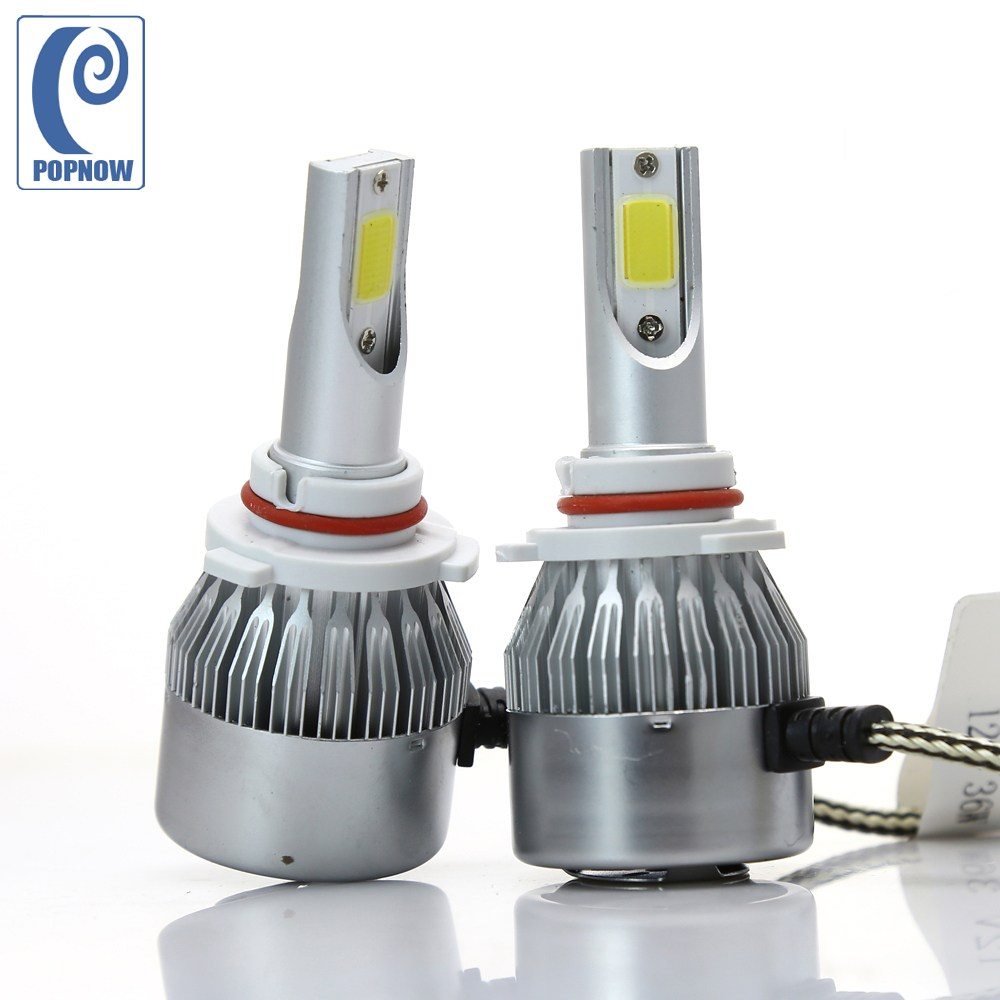 Popnow pair 72w 9005 hb3 car cob led headlight bulbs replacement 6000k high beam 7600lm for
