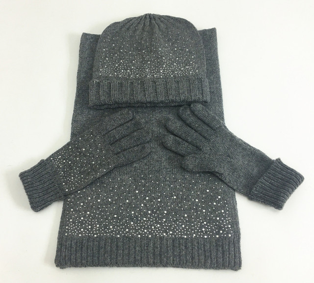 Knitting Wool Three-piece Rhinestone Warm Wool Gloves, Hats Scarves Suit