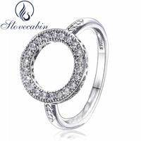 Slovecabin Origianl 925 אהבת כסף לבבות נשי גביש טבעות אירוסין לנשים תואם עם תכשיטי אופנה טבעות מסיבת