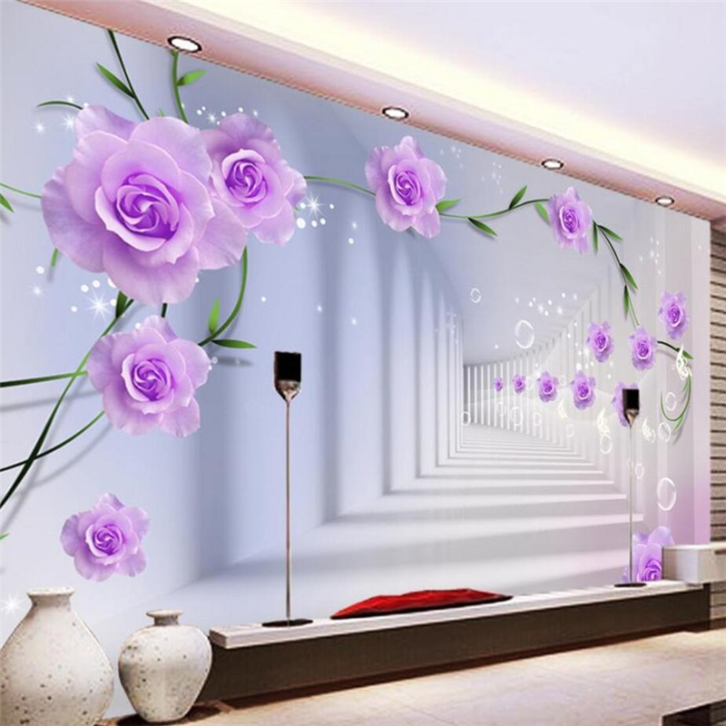beibehang Papel de parede Custom wallpaper stereo photo mural rose 3D living room bedroom hotel tv background 3d wallpaper custom 3d wallpaper pink rose and butterfly mural for the living room bedroom tv background wall vinyl papel de parede