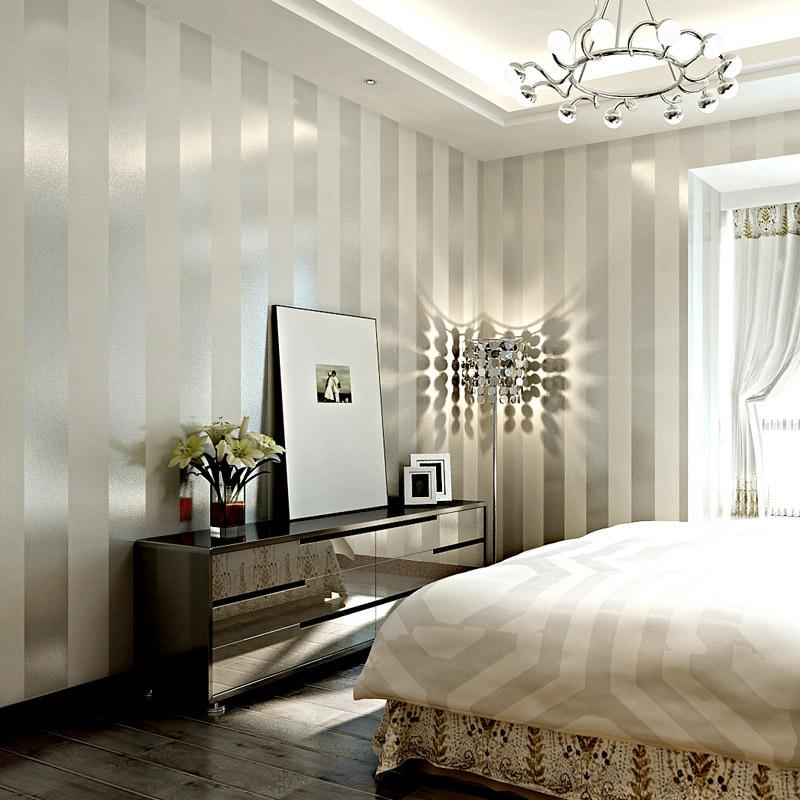 Modern black white sliver vertical stripes wallpaper living room tv backdrop sofa bedroom office high quality wallpaper in wallpapers from home improvement