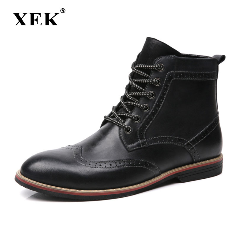 XEK genuine leather boots men plus size 39-47 snow winter work dress shoes male for mens ankle boots ZLL180 roxdia genuine leather men ankle boots snow winter warm fashion work male waterproof for mens shoes plus size 39 48 rxm051