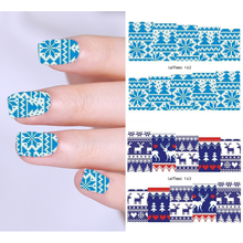 LEMOOC 1 Sheet Nail Transfer Sticker Water Decal Christmas Designs Nail Art Decoration for Manicure Watermark 3d nail art fimo soft polymer clay fruit slices cartoon for nail manicure sticker cell phones diy designs wheel decoration czp35