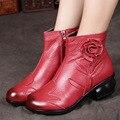Handmade do vintage Genuíno Mulheres de Couro Sapatos Ankle Boots Saltos Plataforma Dedo Do Pé Redondo Lado Flor Zíper Couro Botas zapatos mujer