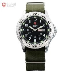 SHARK ARMY Clock Men Brand Green Nylon Band Rotate Analog Quartz Men Wrist Military Sport Watch With Gift Box Erkek Saat/SAW019