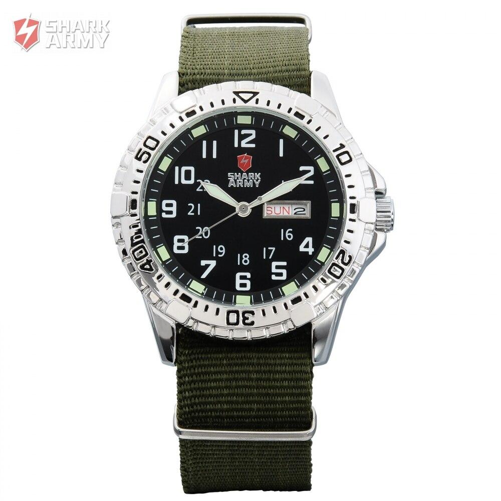 SHARK ARMY Clock Men Brand Green Nylon Band Rotate Analog Quartz Men Wrist Military Sport Watch With Gift Box Erkek Saat/SAW019 nuckily ns357 men s outdoor sport nylon spandex shorts army green size l