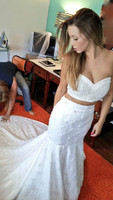 Sexy Two In One Wedding Dress 2 Pieces Sleeveless Lace Mermaid Bridal Gown Customized Vestidos de Novia 2018