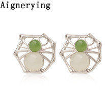 925 silver Earings Certificate natural Green White jade Spider gift with box stud Earing hoop jewelry