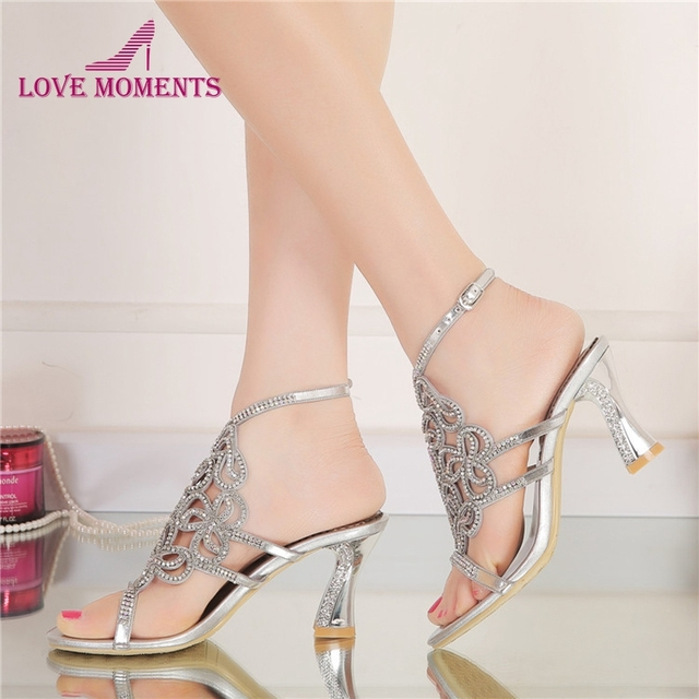 098797159623de Women Summer Sandals High Quality Silver Rhinestone Bridal Dress Sandals  For Summer Open Toe Sparkling Wedidng Party Shoes