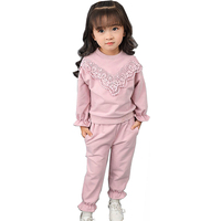 Autumn Children Girls Clothing Sets Sweet Lace T Shirt Pant Outfit Sport Suit Set Toddler Girls