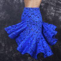 Lace Latin Dance Skirt Dance Wear Exquisite Quality D325 Black Blue Green Wine Red Colors Ruffled Irregular Hem