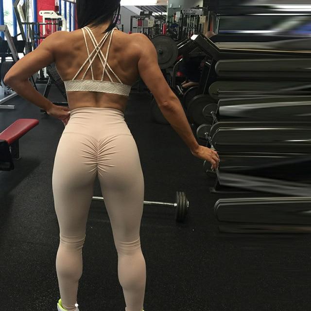 SALSPOR Solid Standard Fold Yoga Pants Women High Waist Push Up Tight Fitness Leggings Gym Women Running Workout Sport Leggings 4