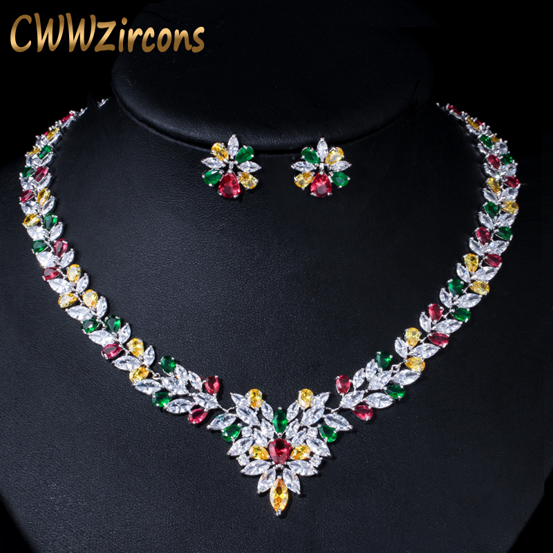 CWWZircons High Quality Multicolored Cubic Zirconia Crystal Choker Wedding Necklace Bridal Jewelry Sets for Women T132
