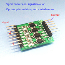 Quad optocoupler isolation / high and low level conversion / microcontroller isolation / anti-jamming signal voltage module