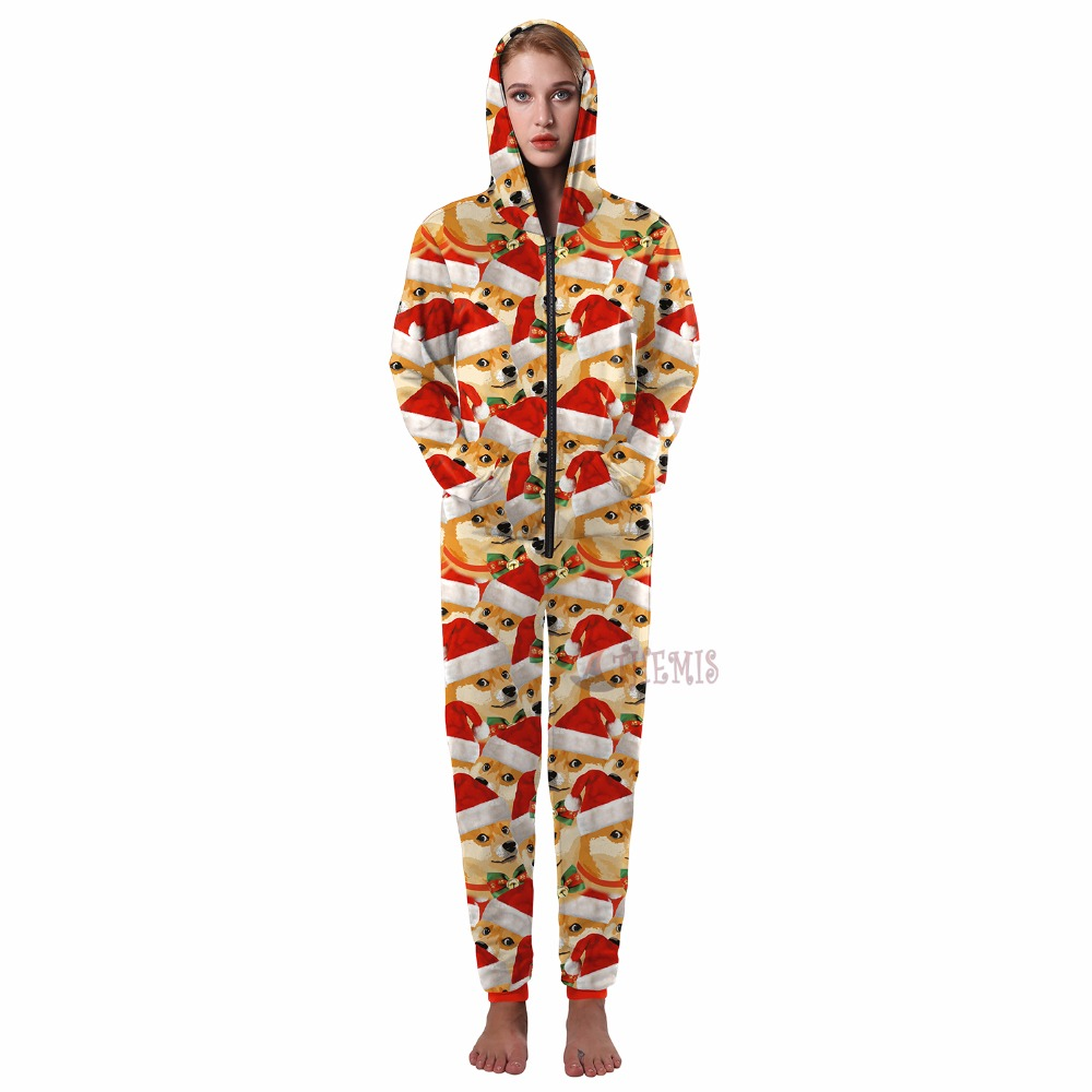 US $27 29 9% OFF| cosplay jumpsuits cosplay Christmas Adult style printing  Pajamas custom made pattern High Quality Athemis-in Movie & TV costumes