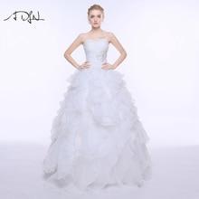 ホワイト/アイボリープリンセスパフィーオーガンザプラスサイズレースアップ A noiva ラインのウェディングドレス