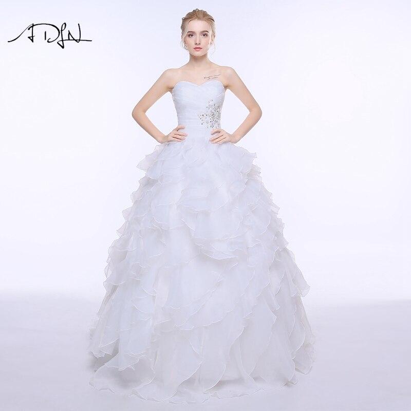 ADLN Elegantna poročna obleka A-line Vestidos de Noiva Bela / Slonokoščena Organza ruffles Beaded Plus size Poročne obleke s čipkami