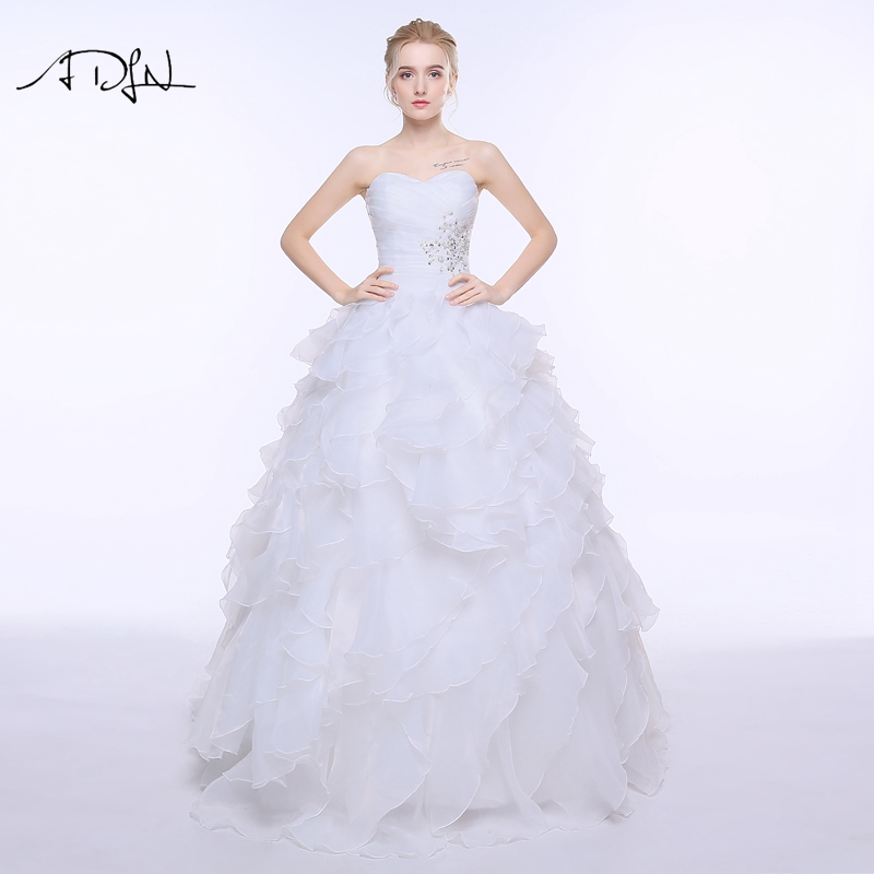 ADLN Stock A-line Wedding Dress Vestidos De Noiva White/Ivory Princess Puffy Organza Plus Size Bridal Gowns With Lace-up Back