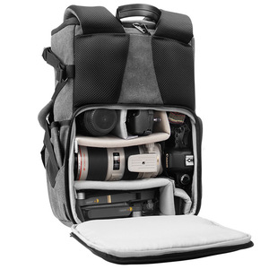 Image 2 - Eirmai Grey Canvas Large Capacity Camera Video Shoulders Backpack Waterproof w Rain Cover fit 15inch Laptop for DSLR Photo Drone