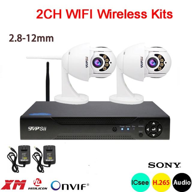 1080P 2mp الأشعة تحت الحمراء ICsee للماء IP66 البسيطة H.265 + 25fps 5X 2.8 مللي متر 12 مللي متر عدسات تكبير 2CH 2 قناة WIFI PTZ IP عدة كاميرا