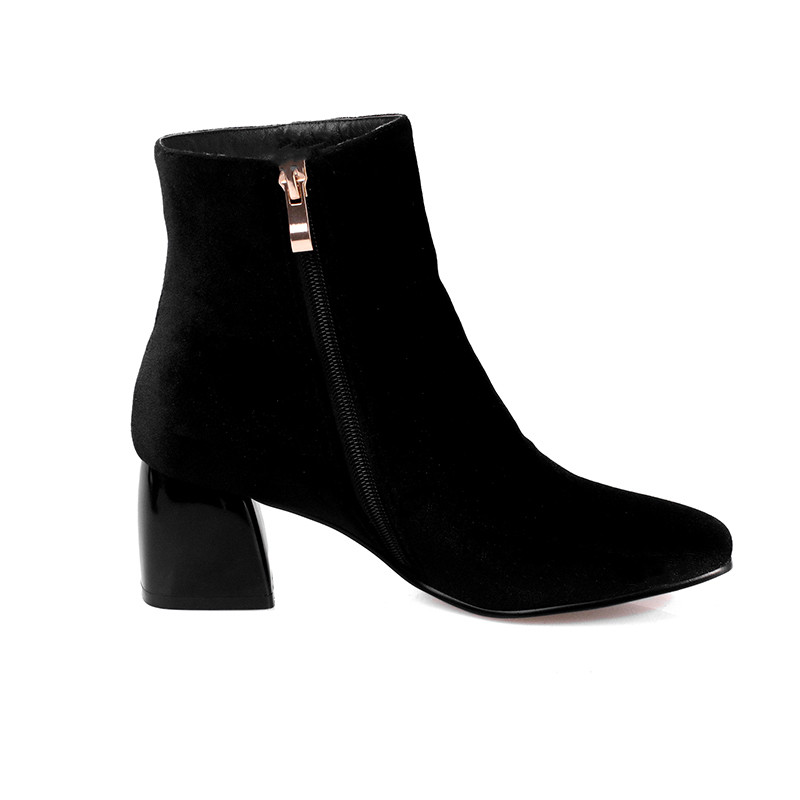 SUBERRY New Style Women shoes Thick Heel Casual red black green Side Zipper Ankle Boots big size 43 velvet boots heels square