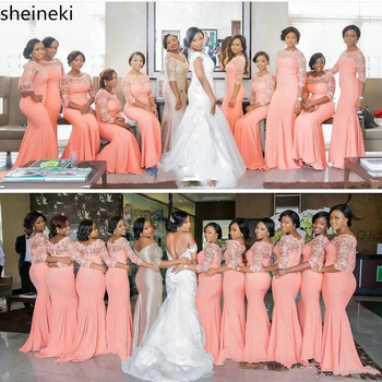 Arabic African Coral Long Bridesmaid Dresses with Half Sleeves Plus Size Lace Mermaid Party Dress Beautiful Dresses for Wedding