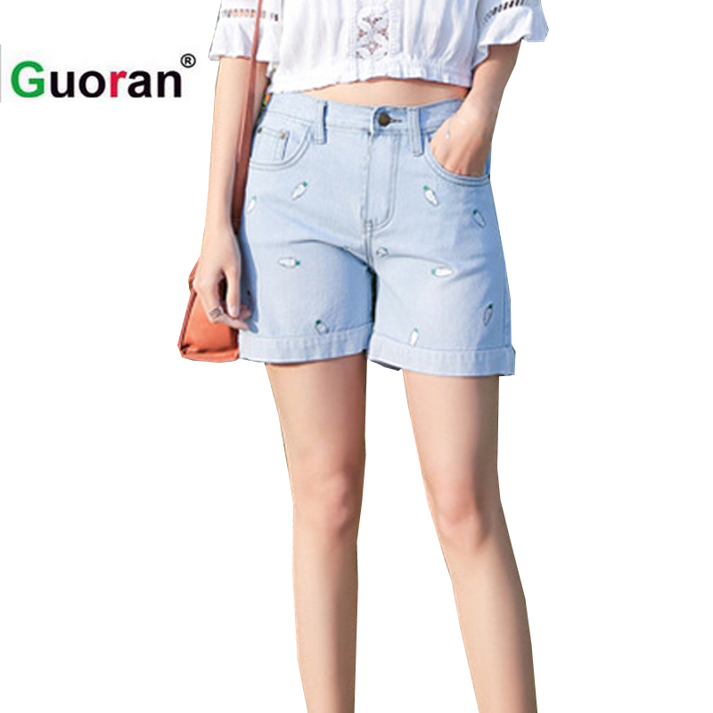 {Guoran} Radish Embroidery women hot jeans short white blue ladies fashion jeans pants ripped jeans for women 2017 summer