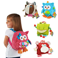 Children's Plush School Bags Kids Toy Backpacks 25cm Preschool Girls Boys Zoo Pack Cute Cartoon Animal Owl Cow Frog Monkey Lion