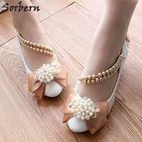 Sorbern Champagne Satin Bow Beading Wedding Shoes Med Heels Pumps Women Shoes Brides Wedding Party Shoes For Ladies 2018